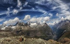 Картинка небо, облака, горы, камни, Швейцария, Церматт