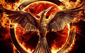 Картинка cinema, metal, fire, bird, wings, feathers, film, flames, The Hunger Games, survival, The Hunger Games: …