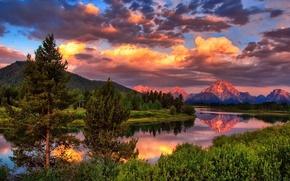 Картинка лес, лето, небо, облака, деревья, горы, природа, река, фото