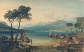 Картинка картина, лодка, горы, Женевское Озеро и Монблан, Уильям Тёрнер, парус, пейзаж, коровы