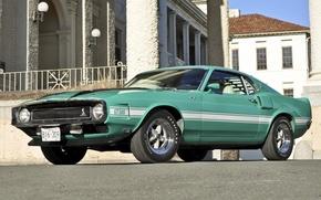 Обои дом, Shelby, GT500, mustang, мустанг, ford, мускул кар, форд, классика, бирюзовый, шелби, 1970, передок, Muscle ...
