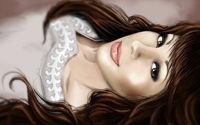 Картинка взгляд, девушка, волосы, арт, лежит, карие глаза, челка