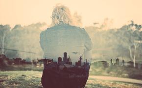 Картинка man, hill, back, cityscape, double exposure