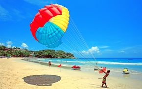 Картинка море, пляж, небо, облака, люди, парашют, курорт, гидроцикл