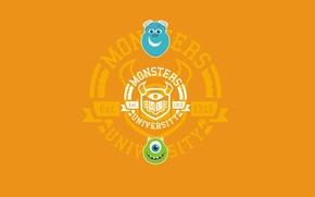 Обои Университет монстров, минимализм, Monsters, зеленый, оранжевый фон, рожицы, Корпорация монстров, Monsters University, синий, круг, Inc., ...