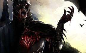 Картинка dark, wallpaper, blood, logo, fantasy, tower, Batman, armor, sky, night, cross, clouds, symbol, bat, vampire, ...