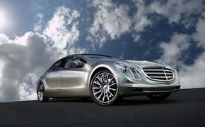 Обои Mercedes-Benz, отражение, Concept, небо, облака, F700