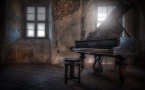 Обои окно, пианино, стул
