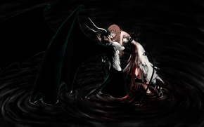 Картинка тьма, кровь, крылья, арт, dark, blood, bleach, art, блич, улькиорра, рана, ulquiorra, жесты, эспада, inoue ...