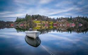 Картинка озеро, отражение, лодка, Норвегия, Norway, Ругаланн, Rogaland, Egersund, Эйгерсунн