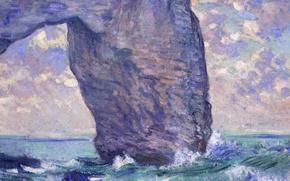 Обои море, скала, картина, арка, Клод Моне, Маннпорт. Вид Снизу