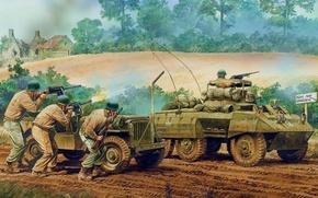 Картинка рисунок, солдаты, стрельба, винтовка, Вторая мировая война, пулемёты, американские, автобронетехника