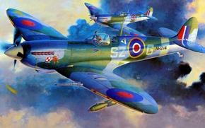 Картинка fighter, war, art, airplane, painting, ww2, Spitfire Mk.IXc late version