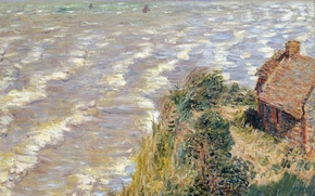 Обои Клод Моне, море, волны, дом, Таможня в Варанжевиле, артина, пейзаж