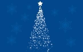Обои праздник, снег, merry, звезда, рождество, снежинки, tree, обои, new year, 1920x1080, елка, новый год, xmas, ...