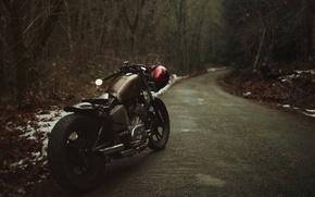 Обои асфальт, классический мотоцикл, мотоцикл