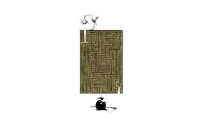 Картинка жизнь, смерть, креатив, аист, лабиринт, коса, Angel Boligán, ребёок