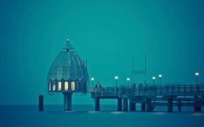 Картинка лед, море, люди, сооружение, пирс, wallpaper, spotlight, windowsX