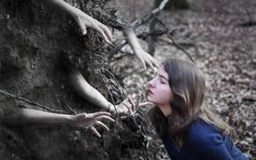 Картинка девушка, абстракция, земля, руки