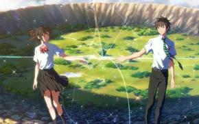 Картинка девушка, аниме, арт, парень, Kimi no Na wa, Твоё имя