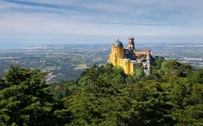 Обои португалия, дворец пена, небо, долина