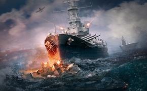 Картинка море, брызги, корабли, бой, самолеты, стрельба, таран, World Of Warship