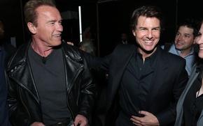 Обои радость, фото, знаменитости, актеры, улыбки, Том Круз, Арнольд Шварценеггер, Tom Cruise, Arnold Schwarzenegger