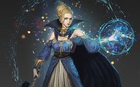 Картинка взгляд, вода, девушка, магия, шар, платье, арт, Youngmin suh