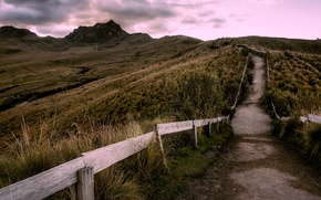 Картинка mountain, pathway, wood fence, clouded