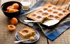 Обои абрикосы, полотенце, пирог, еда, десерт