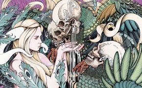 Картинка colors, skulls, digital art, plants, demons, drawing, demoness, 3000x1501