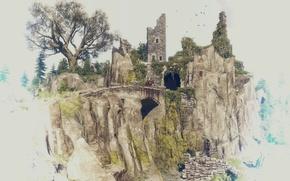 Обои гора, всадник, руины, The Witcher 3