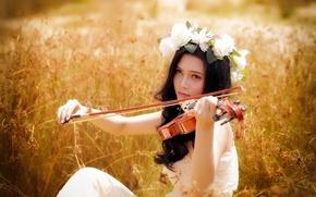 Картинка лето, девушка, музыка, скрипка, азиатка