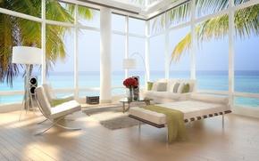 Картинка дизайн, пальмы, стулья, современный, квартира, design, кровати, Интерьер, стильный, вид на море, palm trees, bed, …