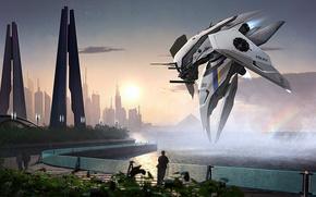 Картинка море, город, фантастика, берег, полиция, мегаполис, aircraft, патруль
