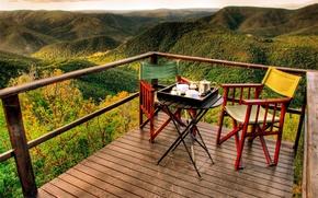 Картинка panorama, mountains, view, morning, romantic, early, tea, adventures, balcony, Breakfast