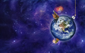 Картинка космос, земля, праздник, планета, новый год, шарик, 2012