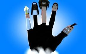 Обои рука, пальцы, синий, головы