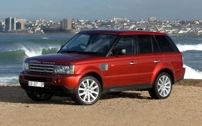 Обои джип, красный, Ленд Ровер, Land Rover, Range Rover, берег, город, Sport, волны, Ренж Ровер, передок, ...