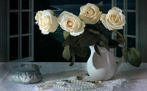 Картинка стиль, розы, букет, ожерелье, винтаж