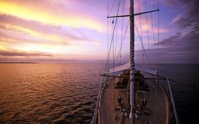 Картинка море, путь, вечер, яхта