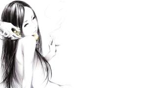 Картинка Sawasawa, сигарета, руки, Рисунок, art, дым, девушка, телефонная трубка