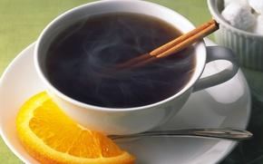 Картинка чай, долька, чашка, блюдце, апельсина, корицаа