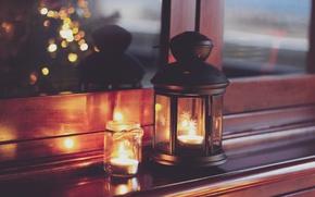 Обои lights, home, Christmas, lantern, candles