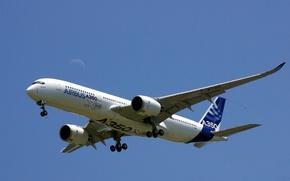 Картинка небо, крылья, хвост, самолёт, полумесяц, Airbus A350-900