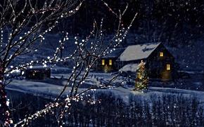 Обои Снежинки, Новый год, Зима, Елка, Ночь, Природа, Ветки, Снег, Дом