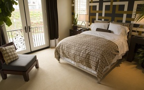 Картинка дизайн, стиль, комната, мебель, кровать, интерьер, кресло, балкон, спальня