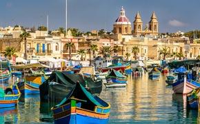 Картинка здания, лодки, залив, Malta, Мальта, Марсашлокк, Marsaxlok, Marsaxlokk Bay, Malta Xlokk