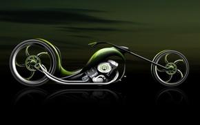 Обои Мотоцикл, зеленый, концепт