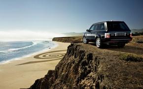 Обои rocks, автомобили с машинами, берег, beach, машины, range rover, песок, море, cars, вода, океан, скалы, ...
